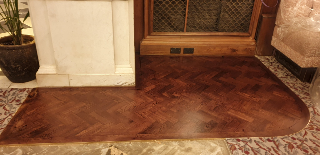 Oak Parquet Flooring with Brass Border - #3
