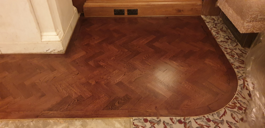 Oak Parquet Flooring with Brass Border - #1