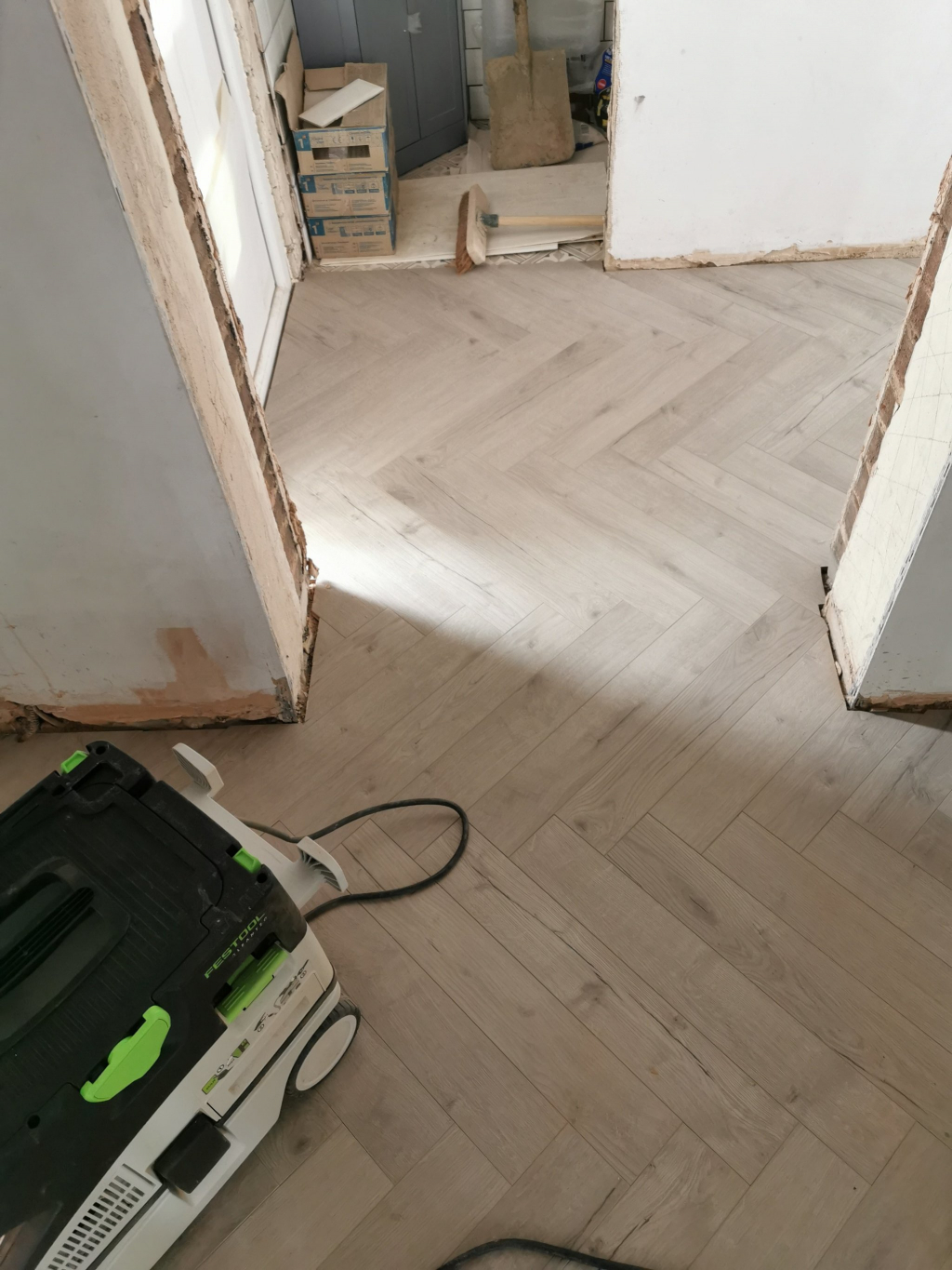 Herringbone Laminate Flooring Installation - #4