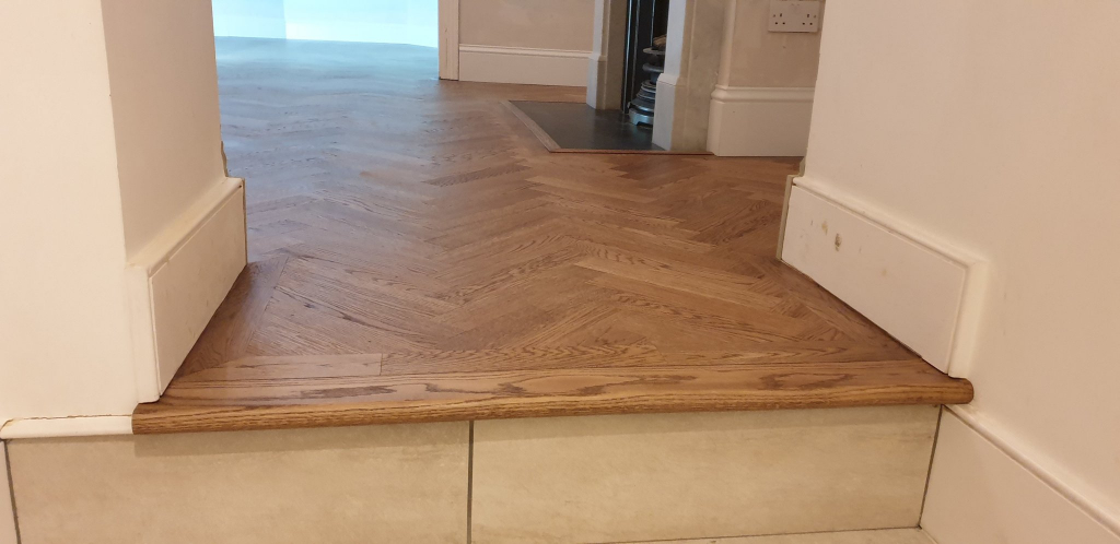 Stair Step Nosing with Oak Parquet Flooring - #2
