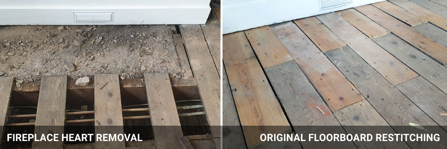 Floorboards Repairs Fireplace Heart
