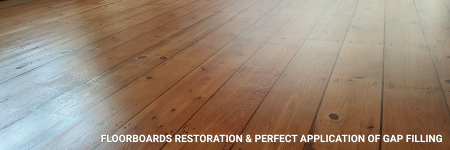 Floorboards Restored With Gap Filling