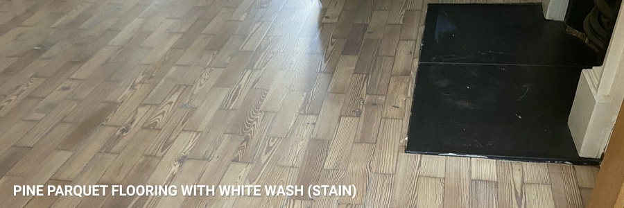 Pine Parquet Flooring White Wash Stain 3 in mortlake