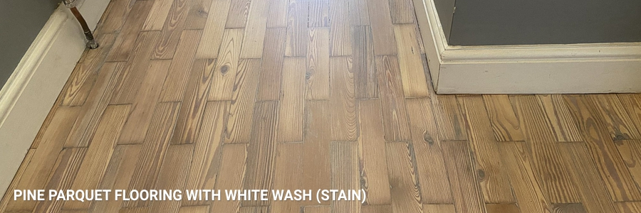 Pine Parquet Flooring White Wash Stain in slough