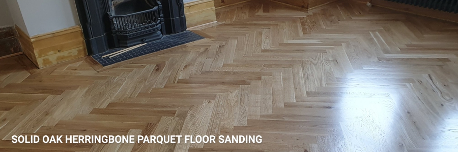 Solid Oak Parquet Herringbone Sanding Satin Lacquer in potters-bar