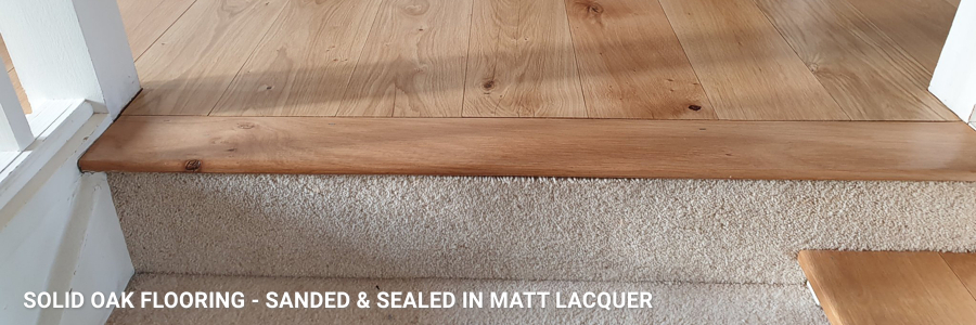 Wide Sand Solid Oak Stair Step Restoration