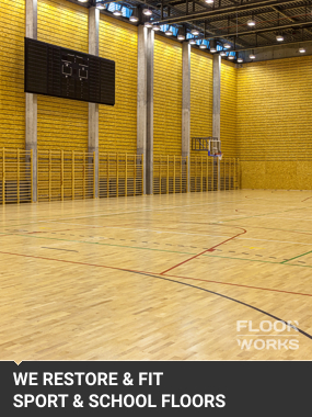 sport hall wood flooring after restoration